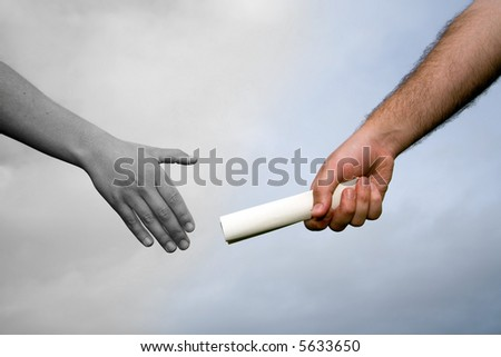 handing baton from one person to another symbolizing partnership