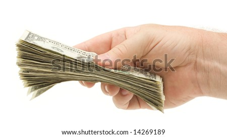 Handing Over Money Isolated on a White Background.