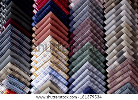 Handkerchief breast pocket of a suit.fold pocket Square.Top view shot of Handkerchiefs.