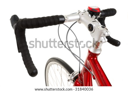 handle bar of race road bike isolated on white background