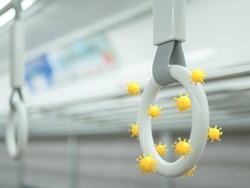 Handle grips on a subway train with the covid-19 virus or bacterial for concept of protection against the germs in public and transportation.