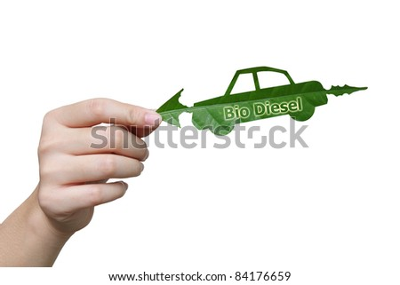 Handle leaves the car bio diesel image  eco concept