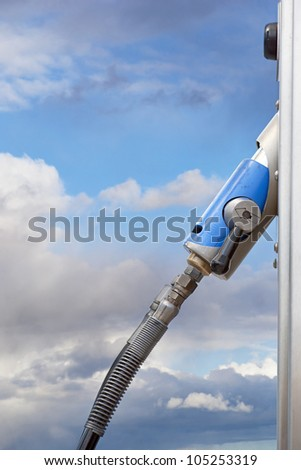 handle on pump for natural gas at service station