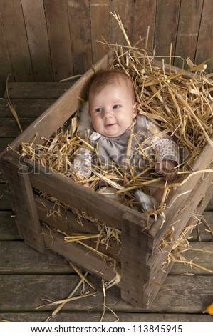 Handle with care ! baby lying in a case with straw