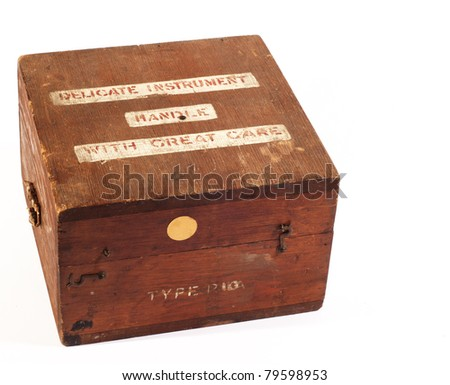 Handle with care old wooden box