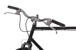 Handlebar of a bicycle isolated on white