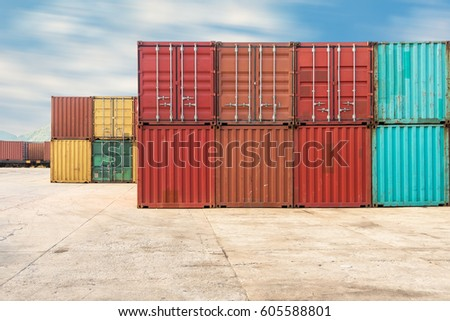 Handling stack of container shipping, Container shipping yard. #605588801