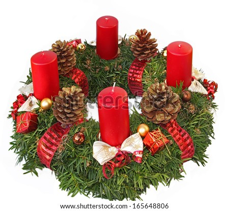 handmade advent wreath with red ribbon and golden glittering cones, isolated on white #165648806