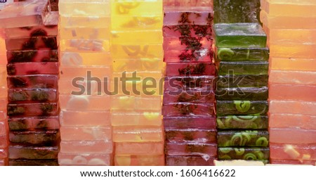 Handmade aromatic soap on the Grand Bazaar in Istanbul, Turkey. It has different kinds and colors.
