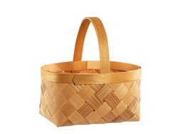 handmade bast product, basket for picking berries, isolate on a white background