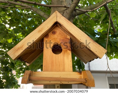 Handmade birdhouse hanging on a tree branch in the garden Photo stock ©
