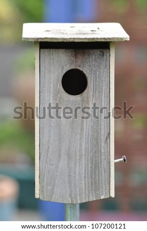 Handmade birdhouse in a North Carolina garden, built for bluebirds