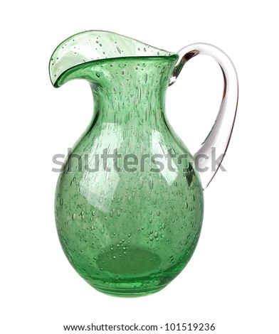 Handmade blown-glass pitcher isolated on white background