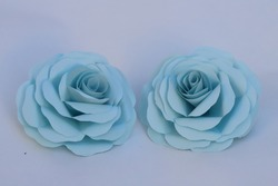 Handmade blue rose flower made from origami.