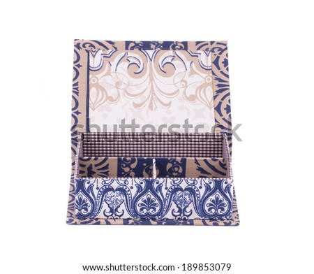 Handmade boxes with art materials for decor. Isolated on a white background.