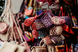 Handmade bunch of purses made from the fiber of Abaca plant, quality product of the Philippines. Copy Space. Selective focus.