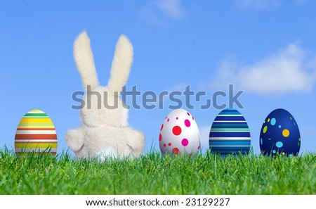 Handmade Bunny sitting along with Easter Eggs, grass field and blue sky background