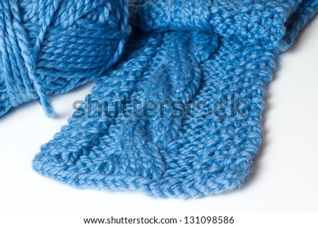 Handmade cable knit scarf and yarn
