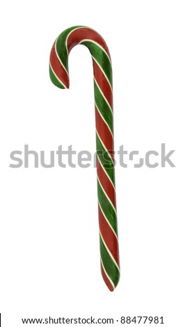 handmade candy cane on a white background - stock photo