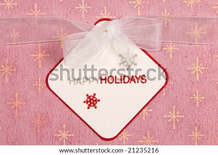 Handmade Card with white ribbon tied around it and the words \