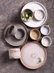 handmade ceramic craft ware on a gray background