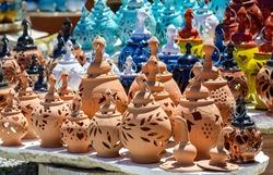 Handmade ceramic souvenirs for sale on Crete island, Greece