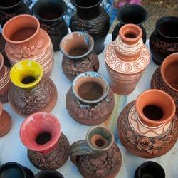 Handmade ceramic souvenirs from Romania.