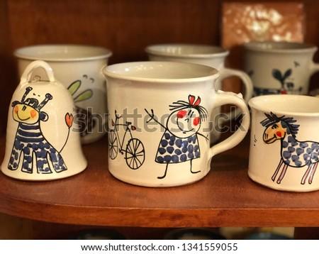 Handmade Ceramics cups and bell #1341559055
