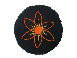 Handmade chain stitch star flower embroidery design, super embroidery, creative embroidery, new embroiderer design, traditional hand made textile handicraft innovations, superior hand embroidery arts