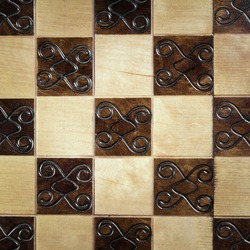 handmade chessboard, close-up, top view, beautiful drawing on wood