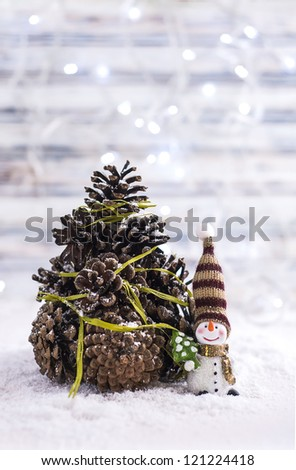 Handmade Christmas cone tree with snowman