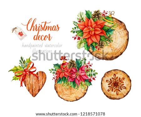 Handmade christmas decoration. Wooden decoration. Rustic. Wood slice. Tree rings. Poinsettia. Botanical watercolor illustration.