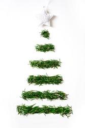 Handmade Christmas tree design top view on white