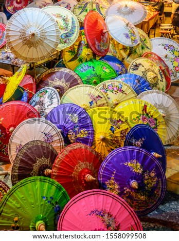 Handmade Colorful Paper Parasols Umbrellas for Sale in the Chiang Mai Thailand Night Market #1558099508