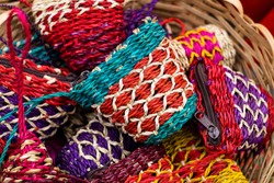 Handmade colorful purses made from quality Abaca plant fiber, crafted by indigenous people in the south of the Philippines. Animal free items. Selected focus. Copy space.