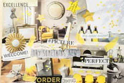 Handmade contemporary creative atmosphere art mood board collage sheet in color Gray and yellow made of teared magazine and printed matter paper with colors and texture. Interior design concept