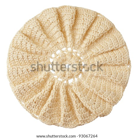 handmade crochet round motif isolated on white