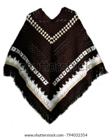 Handmade crocheted beautiful poncho - Shutterstock ID 794032354