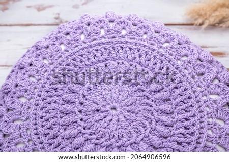 Handmade Decorative Purple Crochet Round Cotton Cushion or Pillow