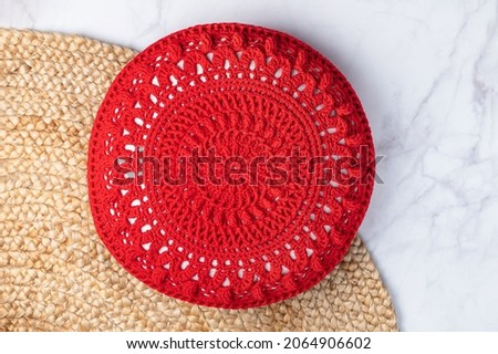 Handmade Decorative Red Crochet Round Cotton Cushion or Pillow on Jute Rug