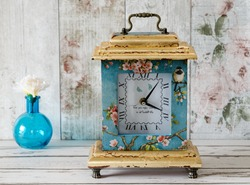Handmade decoupage clock with gold leaf gilding and handle