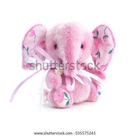 Handmade elephant in classic vintage style on white background