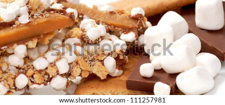 Handmade English Toffee with ingredients giving it a Smores flavor with chocolate, marshmallow and cinnamon cracker