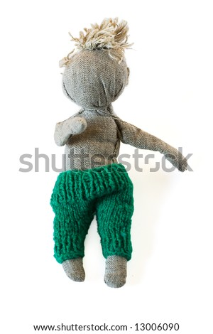 Shutterstock Handmade fabric puppet on white background