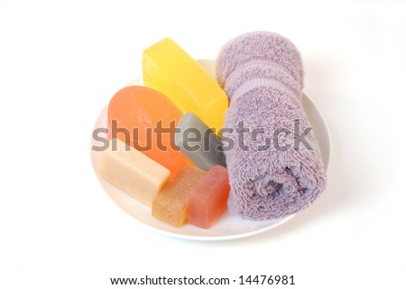 handmade face soap and towel