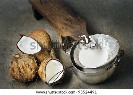 handmade fresh coconut milk - stock photo