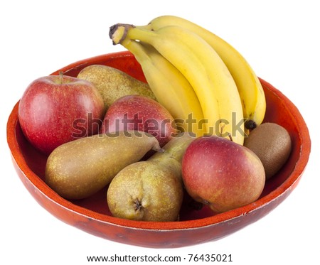handmade fruit bowl with various fruits inside.