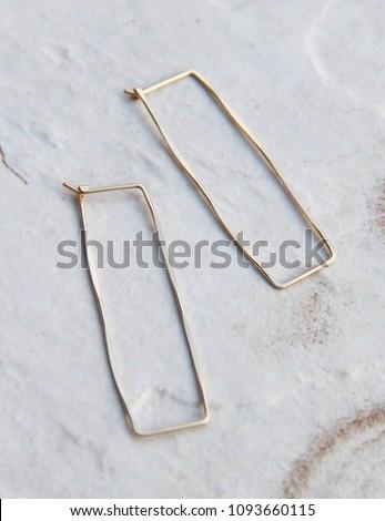 Handmade Hand hammered Brass Gold Minimalist Geometric Rectangular Angle Spear Hoop Earrings