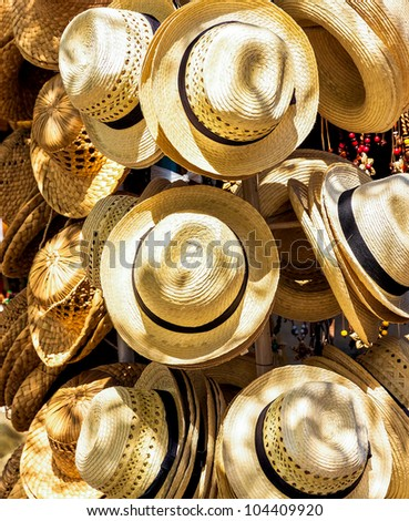 Handmade hats for sale on a touristic market in the beach of Varadero in Cuba