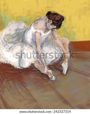 Handmade illustration of Ballerina, Ballet dancer. Pencil on paper, colored in Photo shop.